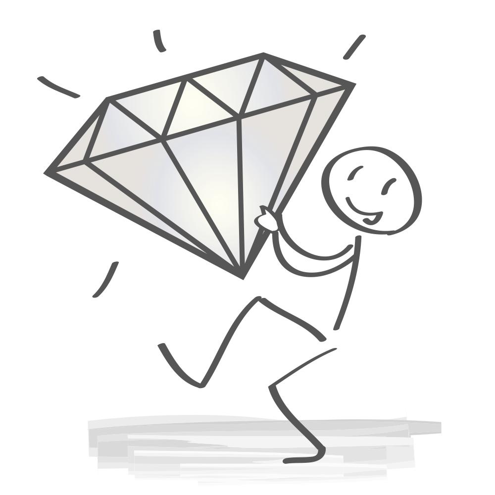 Strichmändchen mit silbernen Diamanten.