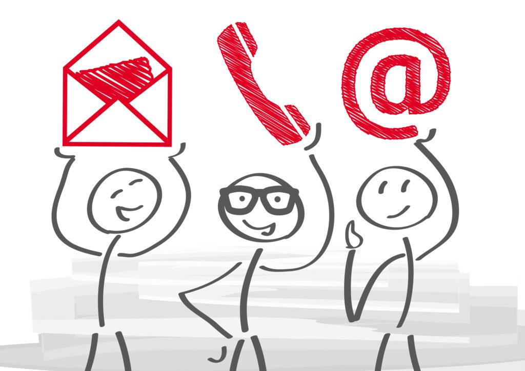 Möglichkeit der Kontaktaufnahme: Brief, Telefon, E-Mail