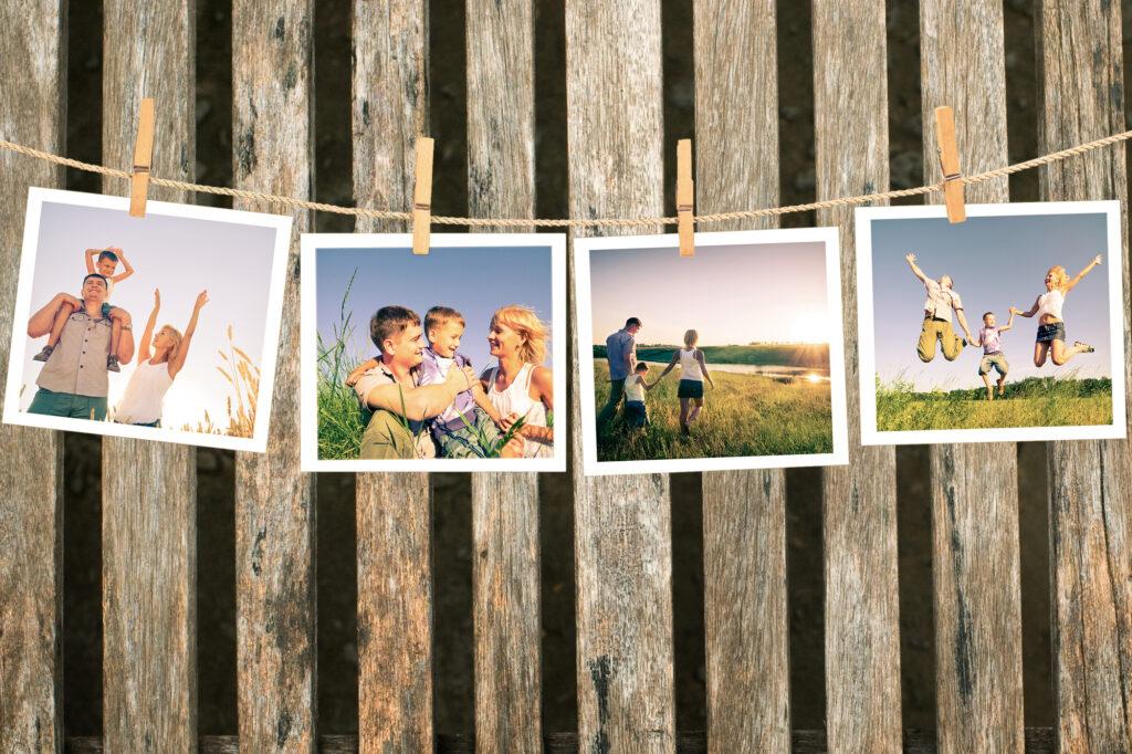 Wand mit glücklichen Bilder der Familie